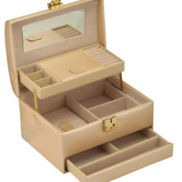 Eva Sleek PU Leather Jewelry box / Storage / Organizer with Lock-Nude