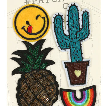 Fabric Patch Sequin Cactus Smiley
