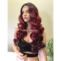 Burgundy Red Ombré 4x4 Silk Lace Invisible Deep Parting Lace Front Wig - Layla