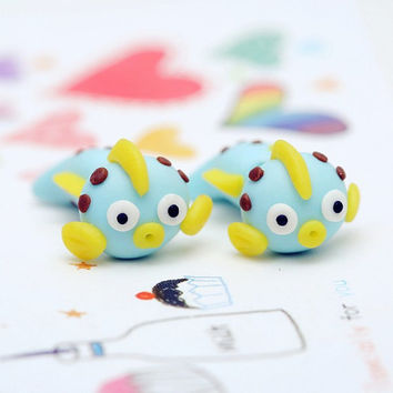 Cute animal stud earrings 925 silver pin handmade 3D polymer clay cartoon goldfish earrings for women jewelry free shopping