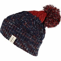 Navy cable knit two-tone bobble beanie hat