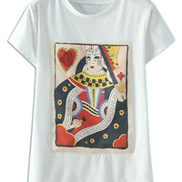 White Poker Queen Pattern Rhinestone Short Sleeve T-shirt