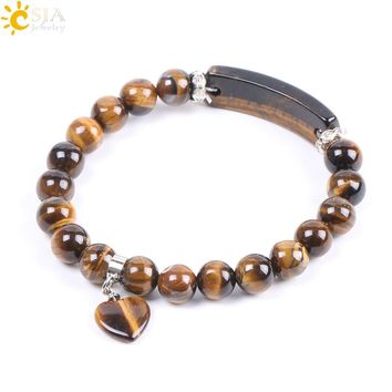 CSJA Natural Stone Beads Tiger Eye Men Strand Bracelets & Bangles Heart Shape Silver-color Fitting Women Jewelry Love Gifts F105