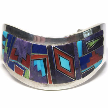 Wide Vintage Navajo Inlay Sweater Cuff Bracelet Edward Becenti