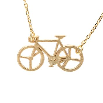 Handcrafted Brushed Metal Old Bicycle Necklace