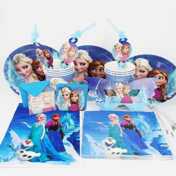 92pcs/set Snow Queen theme Birthday set girls birthday party decoration plate cup napkin mask giftbag for 12kids party supplies
