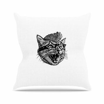 "BarmalisiRTB ""Funky Cat"" Black White Illustration Outdoor Throw Pillow"