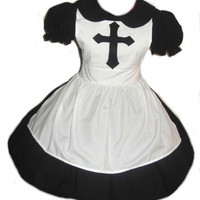 Cute Goth Nun Dress and Apron Halloween Costume Gothic Lolita Cosplay  Womens Small Medium Large Xlarge 2X 3X or 4x