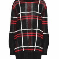 Plaid linen and wool-blend sweater