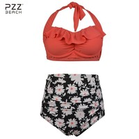 Plus Size Swimwear Women Bikini High Waist Swimsuit Sexy Bathing Suits Floral Print Bikini Set Monokini Biquini Retro Swim Suit