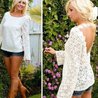 Lace Cut Out Back Blouse