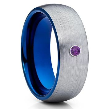Amethyst Tungsten Ring - Gray Tungsten Wedding Ring - Blue Tungsten Band