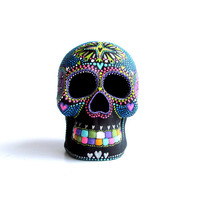 Painted Skull Small hand painted skull Sugar skull skull art Neon Skull