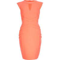 Light coral cut out pencil dress - bodycon dresses - dresses - women