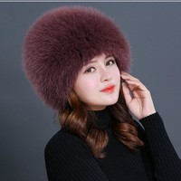 women winter fur hat genuine fox fur hats knitted silver fox fur caps female russian bomer caps