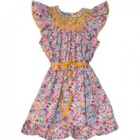 Liberty Hand Smocked Floral Dress with Yellow contrast sash.