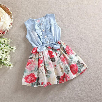 Girls Sleeveless Denim and Floral Dress