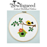 INSTANT DOWNLOAD Bird on a Branch Cross Stitch Pattern