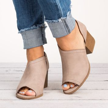Peep Toe Cutout Booties - Taupe