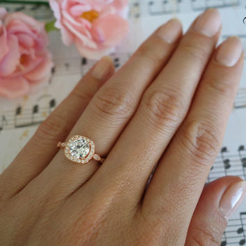 1.25 Carat Halo Vintage Engagement Ring, Man Made Diamond Simulants, Art Deco, Wedding, Bridal, Promise Ring, Sterling Silver, Rose Gold