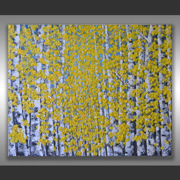 "ORIGINAL Fine Art Modern Birch Trees Painting Aspen Forest Textured Landscape Home Decor 30x24"" Abstract Palette Knife Artwork, unique gift"