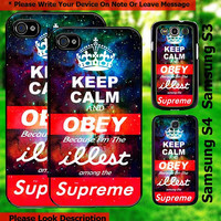 keep calm obey illest supreme galaxy iphone 4,5 samsung galaxy s3 s4 case