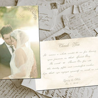 "50 Wedding Thank You Cards - BelleVille Vintage Photo Personalized 4""x6"""