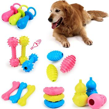 Dog Toys Resistant Chew Pet Toy Bell Squeaky Sound Dog Games Interactive Rubber Pacifier Bone Toy For Small Large Dogs Animals
