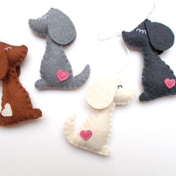 Felt dog ornament - handmande felt ornaments - puppy - Christmas/Housewarming home decor - Baby shower ornaments - eco friendly