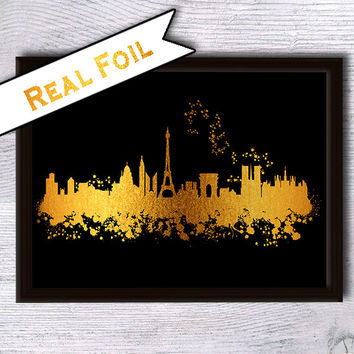 Paris print Paris poster Paris skyline real foil print Skyline gold foil poster Paris cityscape poster Home decoration Office wall decor G36