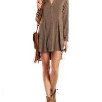 High-Low A-Line Button-Up Dress