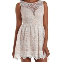 White Combo Plunging Crocheted Mesh Skater Dress by Charlotte Russe