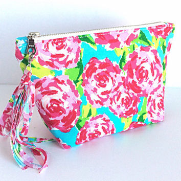 Floral Makeup Bag, Rose Makeup Bag, Floral Cosmetic Bag, Small Floral Zipper Pouch
