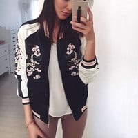 Jacket Coat Floral Embroidered Bomber Jacket Women Flower Baseball Basic Jacket Female Black Coat