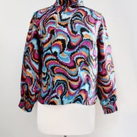 Vintage 1970's Psychedelic Print Silk Roll Neck Blouse - Mod Abstract Print Tunic Top - Size Small to Medium