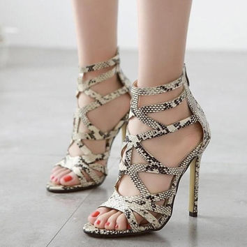 Unique Snakeskin Leather Stiletto Heels