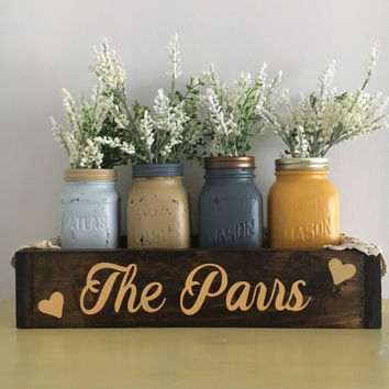 Mason jar rustic planter box home decor table decoration kitchen decor wooden box personalized wedding gift anniversary gift shower gift