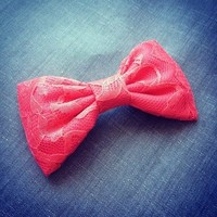 Coral Lace hair fabric bow from Bowlicious Divas Bowtique