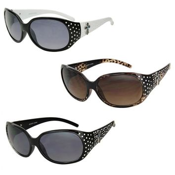 Women's Sunglasses with Bling Rhinestones and Cross with Blue Stone