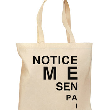 Notice Me Senpai Triangle Text Grocery Tote Bag