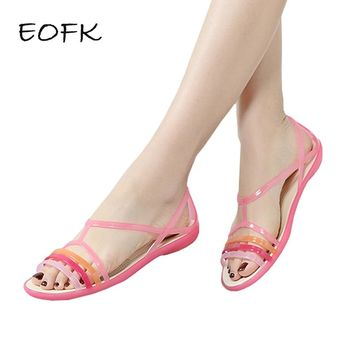 EOFK Women Sandals Summer New EVA Casual Mixed Candy Colors Soft Slip On Beach Jelly Shoes Woman Flat Sandals