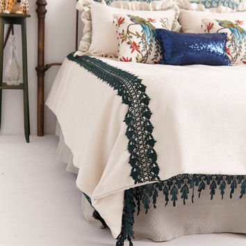 SHABBY CHIC DUVET Cover . Venetian Lace in Green Ombre reverses to Soft Ivory Velvet Chenille with Green Lace trlm