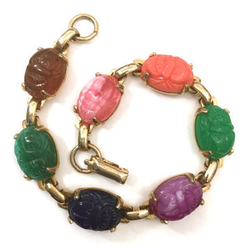Coro Faux Scarab Bracelet, Multi-Color Faux Scarabs, Simulated Gemstones, Seven Links Gold Tone Metal