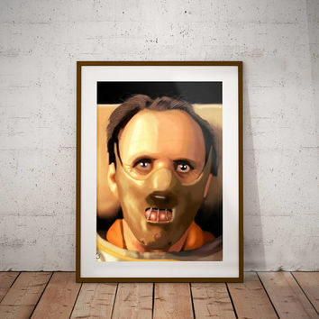 Silence of the Lambs  Hannibal Lecter Anthony Hopkins Horror Movie Cult Classic Pop Culture Wall Art Print