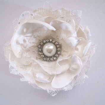 Ivory Satin and Lace Wedding Flower Hair Clip Bride, Mother of the Bride Bridesmaids with Pearl and Rhinestone Accent