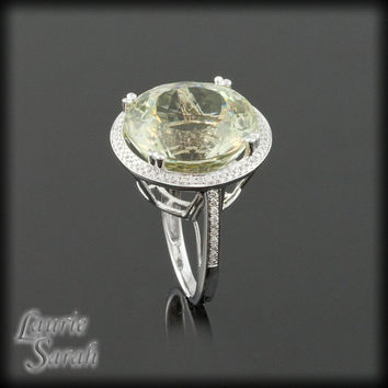 18 carat Lemon Quartz Cocktail Ring with Diamond Halo - Statement Ring - LS2162