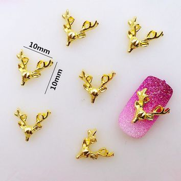 10pcs/bag Retail Japan New 3D Nail Deco Metal Alloy Kawaii Deer Head Nail Accessories DIY Charm Nail Tools for Christmas