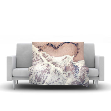 "Nastasia Cook ""Heart in the Sand"" Beach Fleece Throw Blanket"