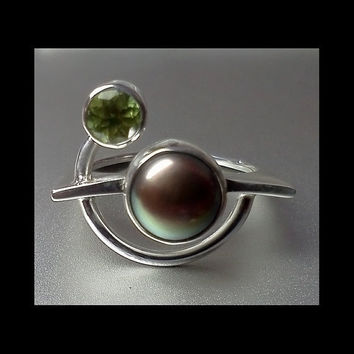 Pearl and Peridot Play on Silver Ring made to by aboutjewelry