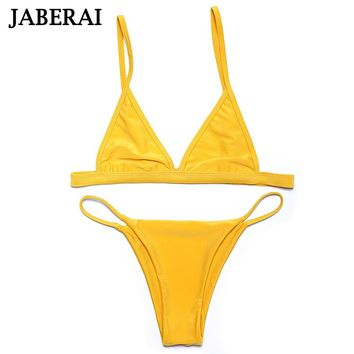 Jaberai Yellow Swimwear Women Bikini Set 2017 Swimwear Biquini Sexy Swimsuit Adjustable Top Bathing Suit Thong Bikini Bottom